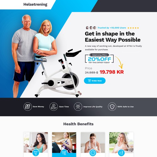Landing page design for smart exercise bike