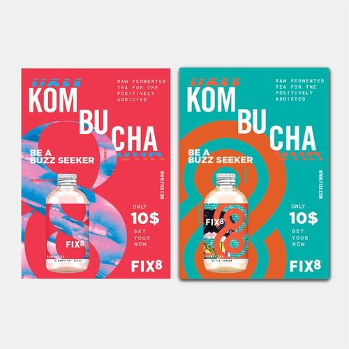Postcard design for FIX8 kombucha