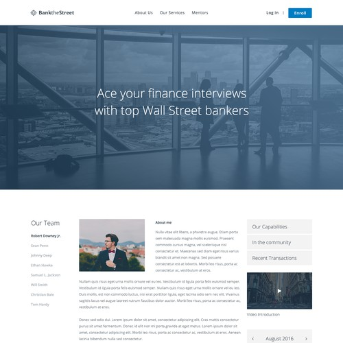 Website design for interview preparation services