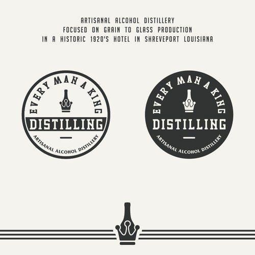 Design a progressive modern logo with 1920s influence for a microdistilley with attached speakeasy
