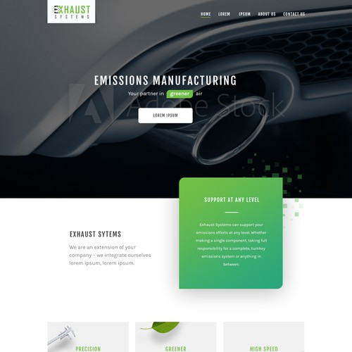 Clean, modern and minimal website design for emissions manufacturing company.