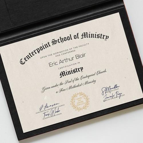 Certificate design for Church