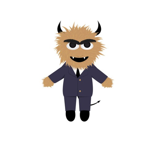 Monster/devil  character illustration for puppet toy.