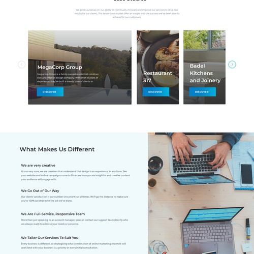 Landing page for marketing agency.