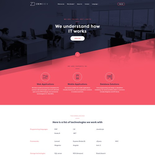 IT agency homepage