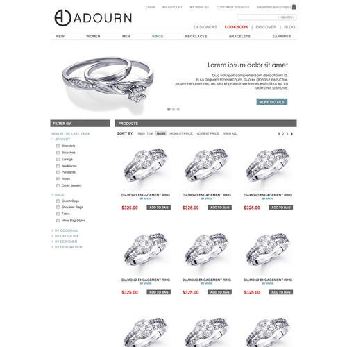 website design for Adourn