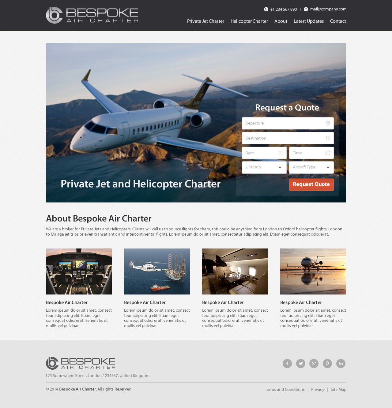 Develop a Homepage for a Private Jet and Helicopter Charter company