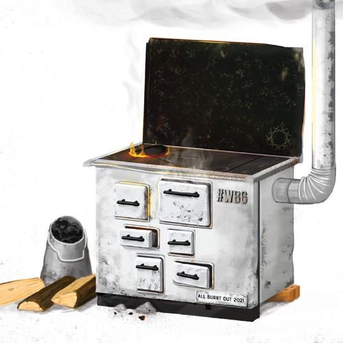 Old stove illustration