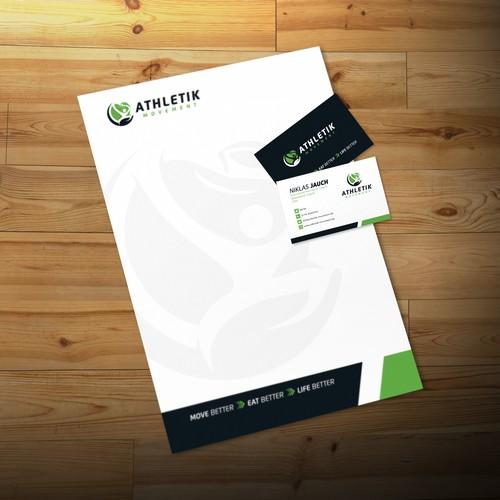 Athletik Movement Business Card and Letterhead design