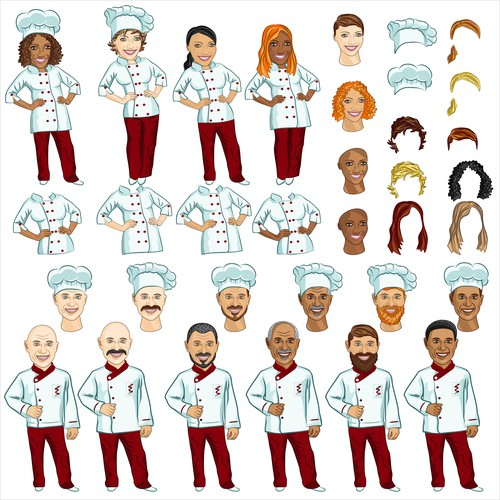 Female and male chef in different variations