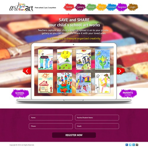 Create a Landing page for an Art Gallery service for Children