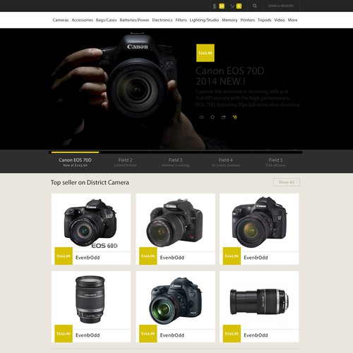 Design/Ideas for eCommerce Camera Website