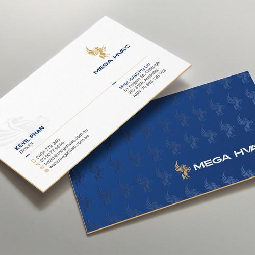 Design a sleek business card for Mega HVAC