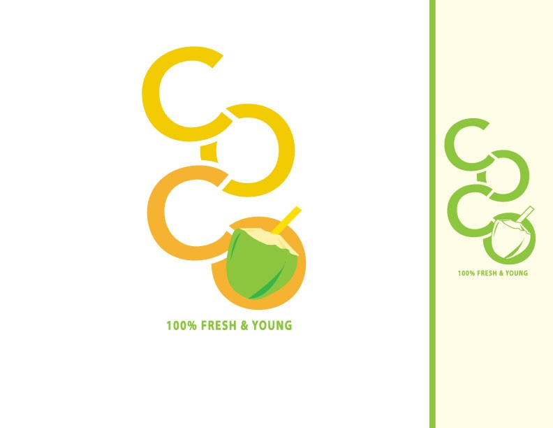 Create a modern yet playful illustration for a fresh young coconut water beverage