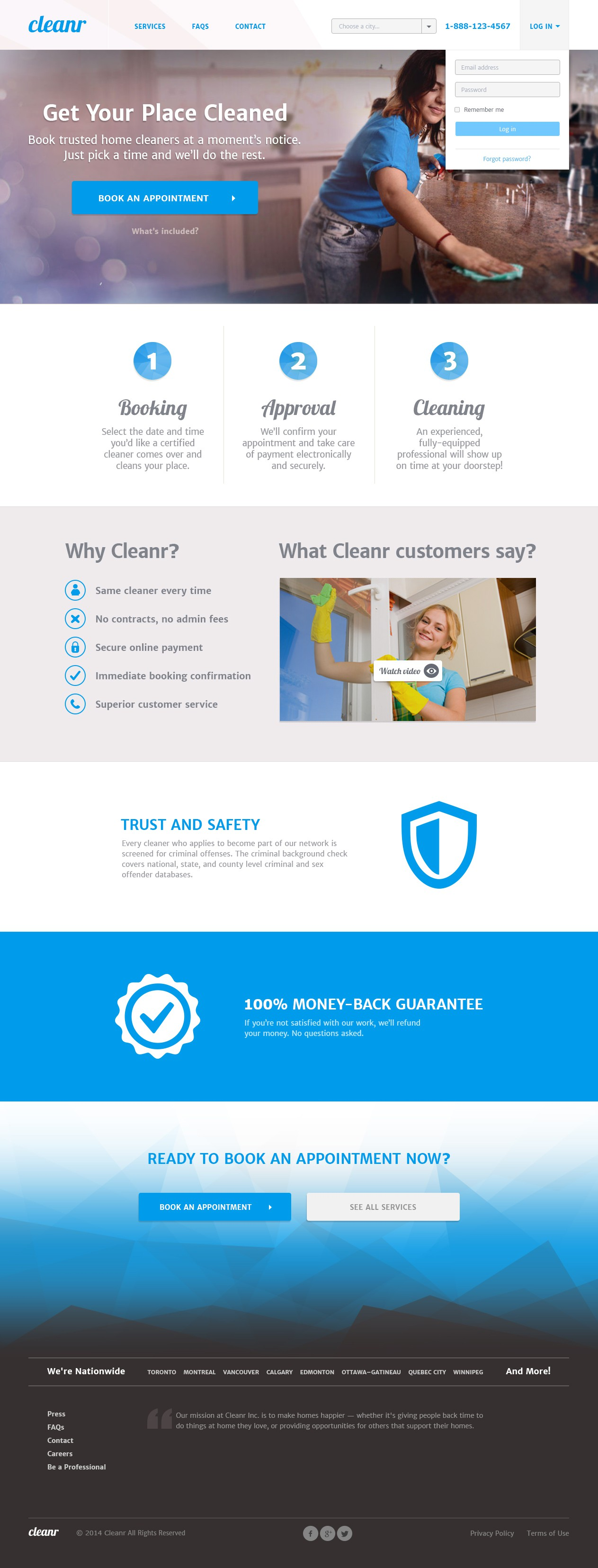 Design a trustworthy and clean landing page for a cleaning company. Cleanr.
