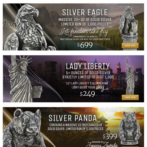 Slider images designs for a collectibles homepage