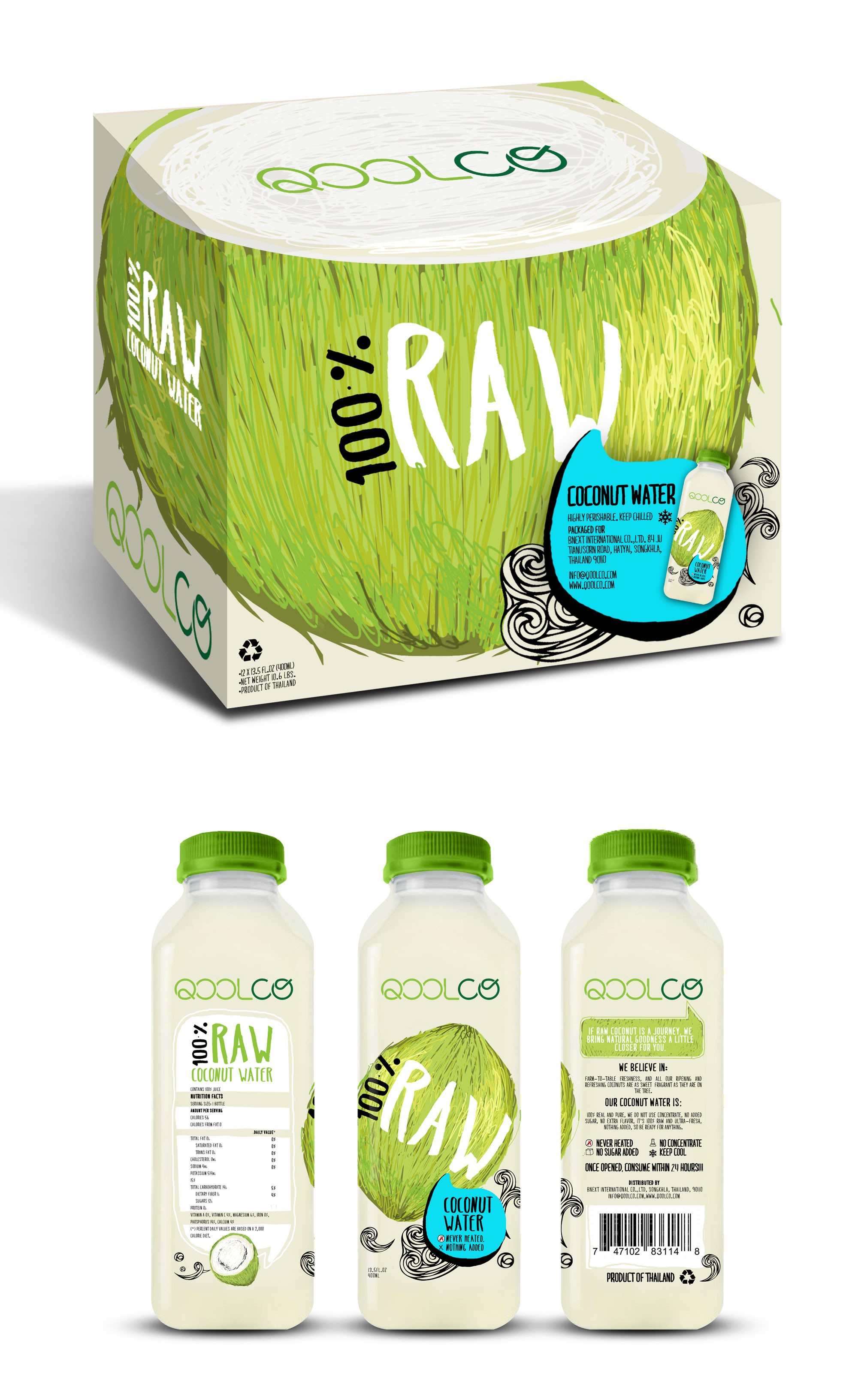 100% RAW COCONUT WATER Packaging Design-Bottle & Box