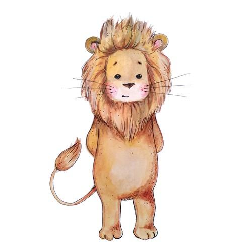 Watercolor lion illustration