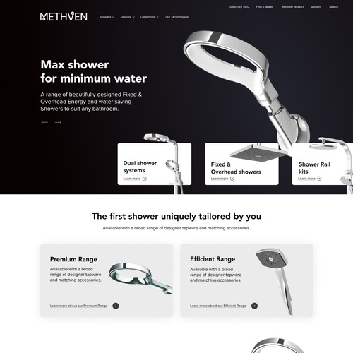 Home page for Methven company