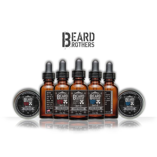 Create a modern looking label for beard oil bottle.