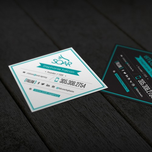 Square business cards for FOOD/HOSPITALITY marketing agency & video web series