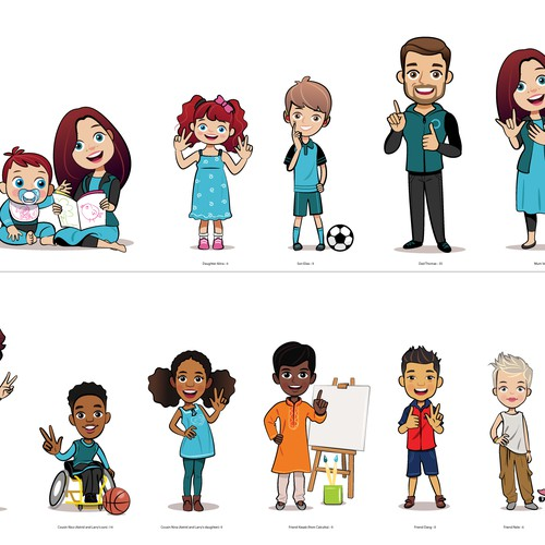 family and friends character-illustration for sign language
