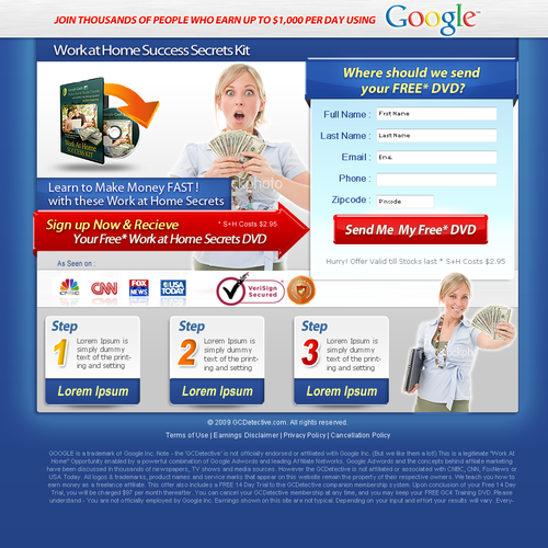 Redesign Google Cash Landing Page