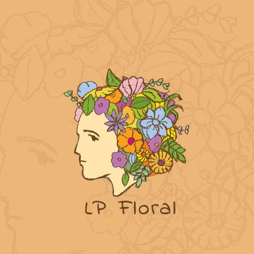 Retro floral logo