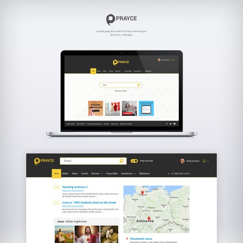 Webdesign for Prayce, a Christian search engine