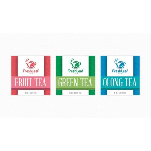 Create the next packaging or label design for FreshLeaf Tea, LLC