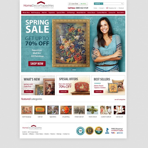 Help homedecortapestries.com with a new website design
