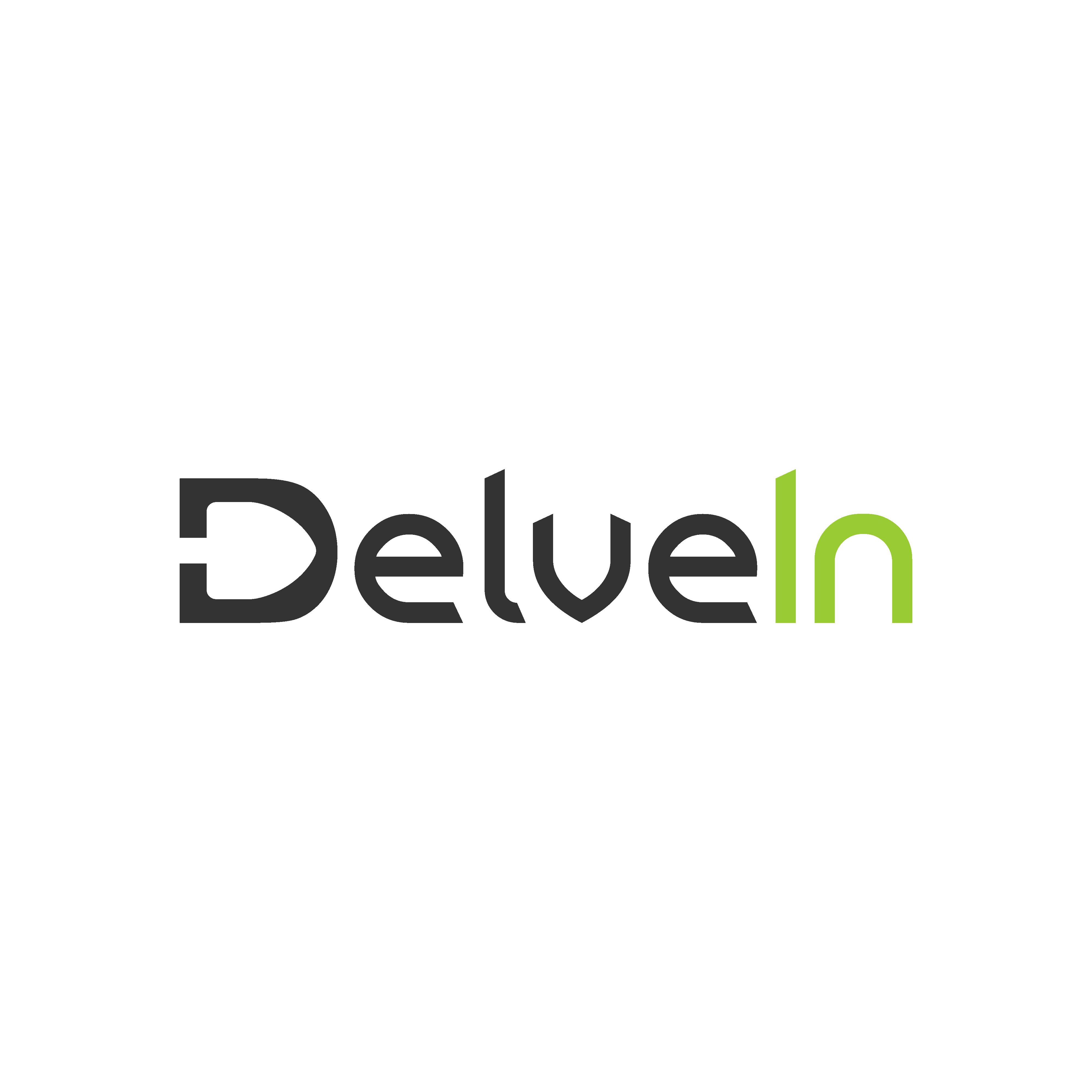 Create a unique logo for tech startup DelveIn providing complete data solutions.