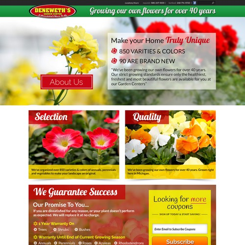 Create a landing page for a growing Independent Garden Center