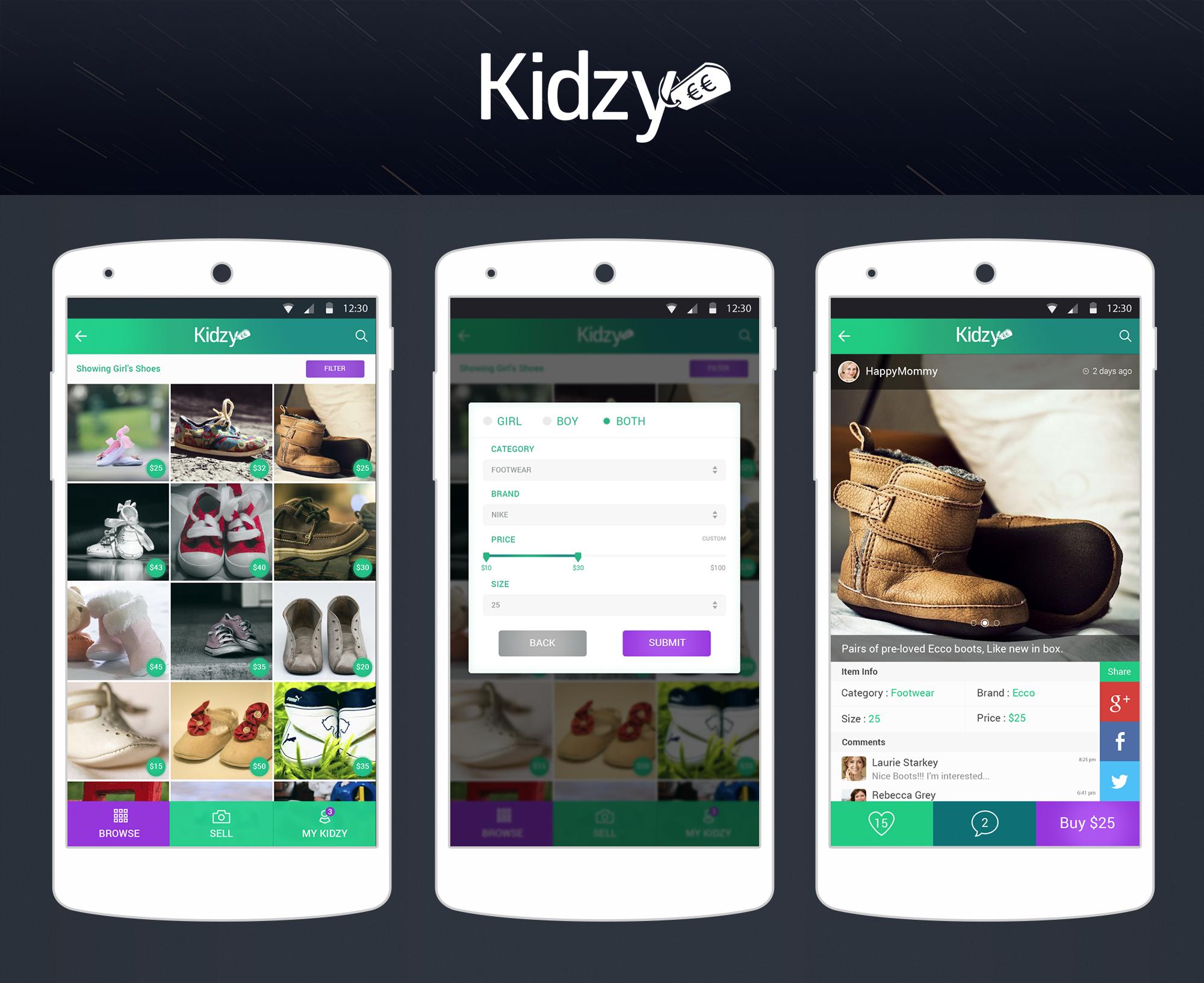 Mobile App Kidzy 2 simple screens + Logo.