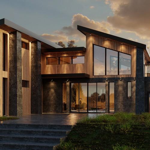 3d Render - Modern Cabin