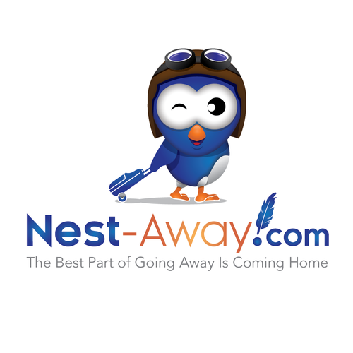 "Create a logo with a confident bird character feeling ""at home away from home"" while traveling"