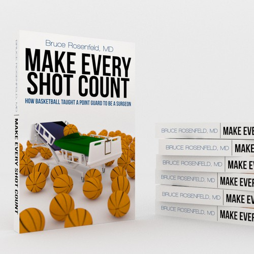 Fresh, dynamic cover for a book that combines Basketball and Surgery