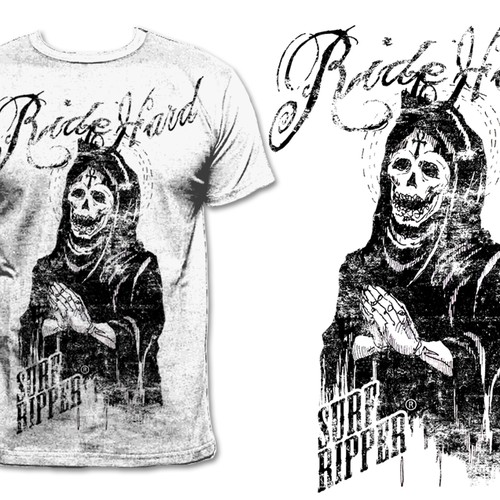 Grunge t-shirt graphic for Surf Ripper