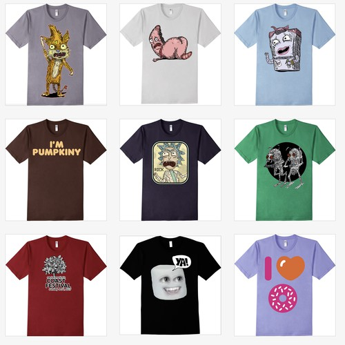 various t-shirt illustrations