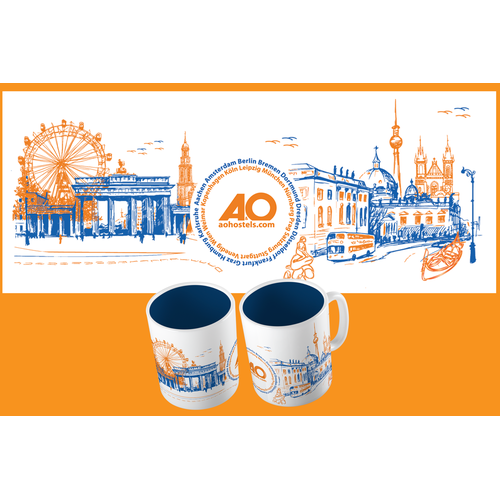 Create a mind-blowing mug design for a hostel chain
