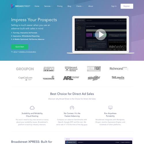 Landing Page Design for broadstreetads.com