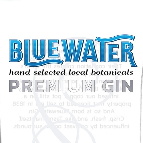"Bottle Label for ""Bluewater"" Tasmanian Gin"