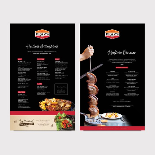 Steakhouse menu design