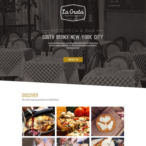 Landing page for NYC based restaurant