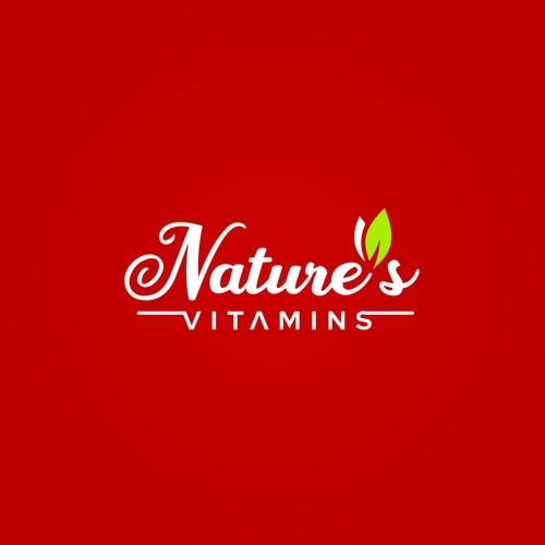 Nature's vitamins logo design