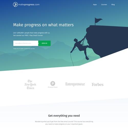 Landing page for MakeProgress.com, a personal development brand