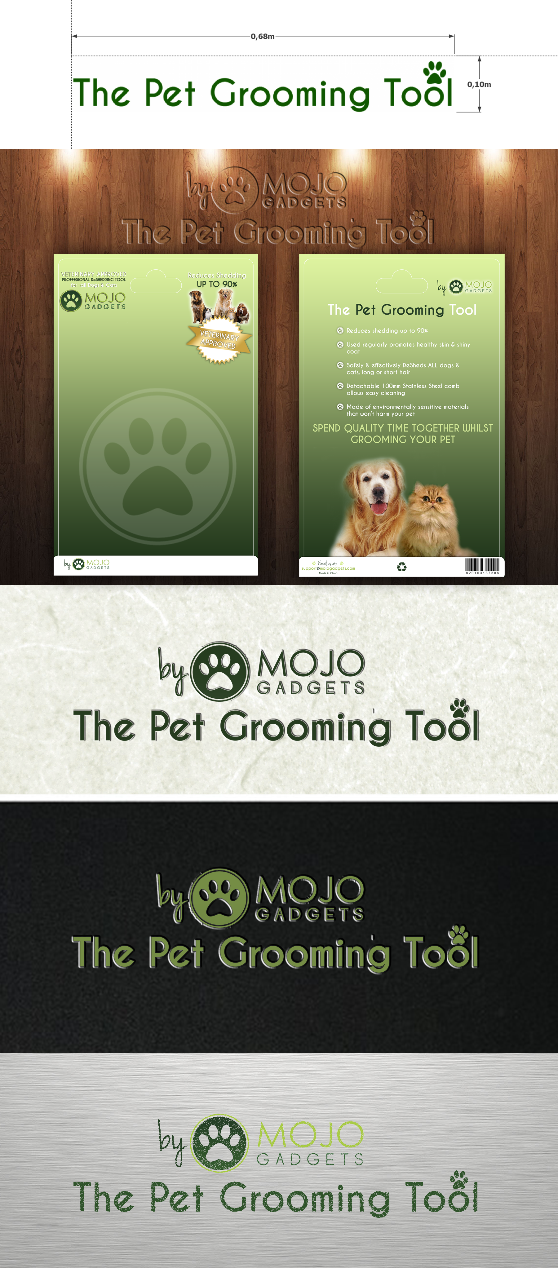 Create a simple but effective packaging design for our pet grooming tool!