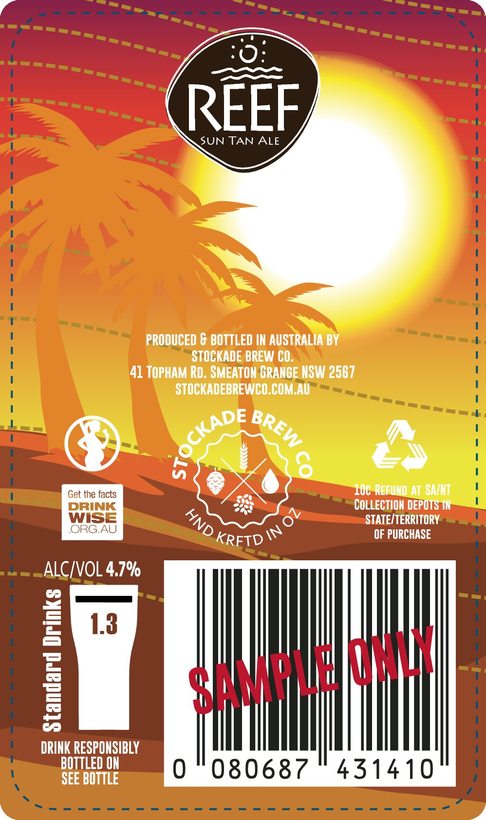Create a beer label based on a suntan lotion label