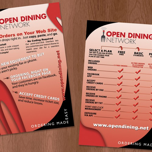 Sales Brochure for Open Dining - a web/mobile/social food ordering service