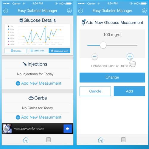 Create new design for diabetes management app!
